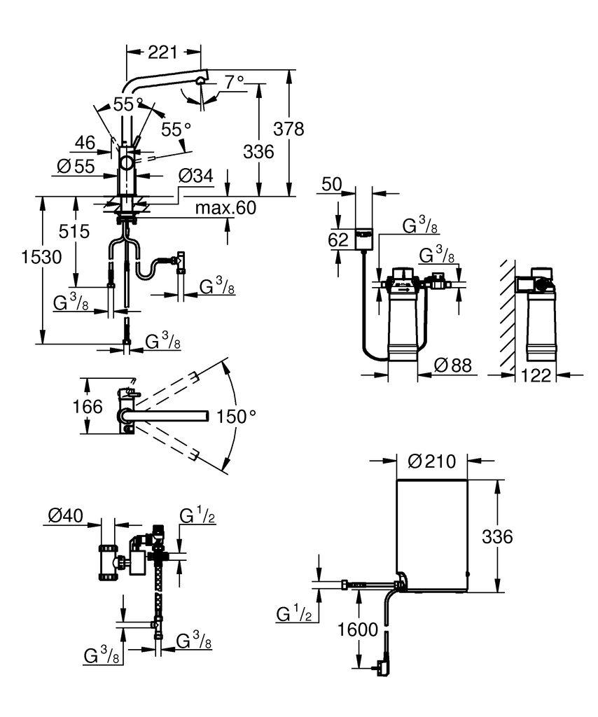 включает в себя:   GROHE Red Duo однорычажный смеситель для мойки  монтаж на одно отверстие  L-излив  GROHE ChildLock кнопка для безопасного открывания кипящей воды  Тройная защита от случайной активации кипящей воды  GROHE StarLight хромированная поверхность  GROHE SilkMove керамический картридж 28 мм  GROHE CoolTouch  Теплоизолированный трубкообразный излив  область поворота 150°  раздельные водотоки внутри излива  гибкие соединительные шланги  подключение для бойлера GROHE Red  GROHE Red бойлер M-size  резервуар для кипящей и горячей воды  3 литра 100° C кипящей воды  Общая емкость 4 литра  давление: 1-7 бар  гибкие шланги подключения и выход для кипящей воды  Одобрено в СE  напряжение подключения 230 V 50 Hz  потребляемая мощность 2100 Вт  потребляемая мощность в режиме ожидания 15 Вт  класс энергопотребления А  GROHE Red Фильтр с головокой для фильтра  для защиты бойлера от накипи  Объем 600 л при 15° dKH  5-ступенчатый фильтр  счетчик расхода фильтрованной воды