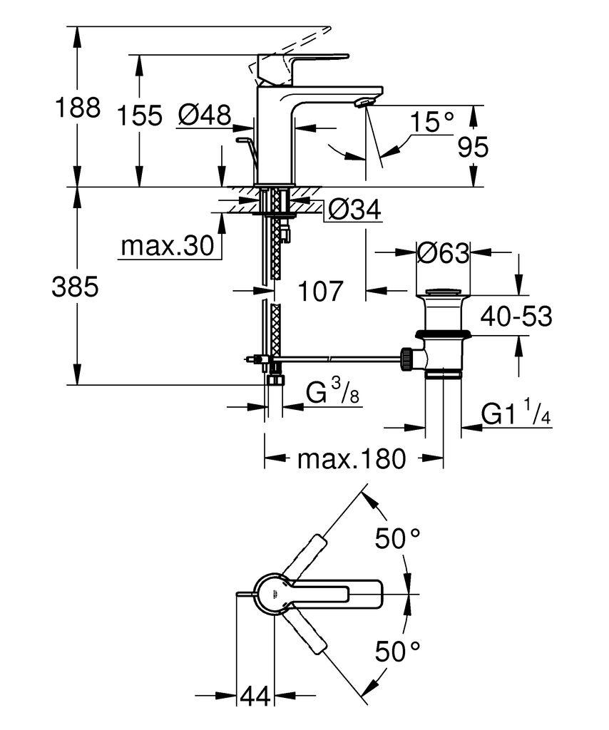 """Хромированный смеситель для раковины Grohe """"Lineare New"""" монтируется на одно отверстие. Включает в себя:- металлический рычаг GROHE SilkMove;- керамический картридж 28 мм с ограничителем температуры GROHE StarLight;- аэратор с ограничением расхода воды 5,7 л/мин GROHE QuickFix;А также монтажную систему, сливной гарнитур 1 1/4"""" и гибкую подводку."""