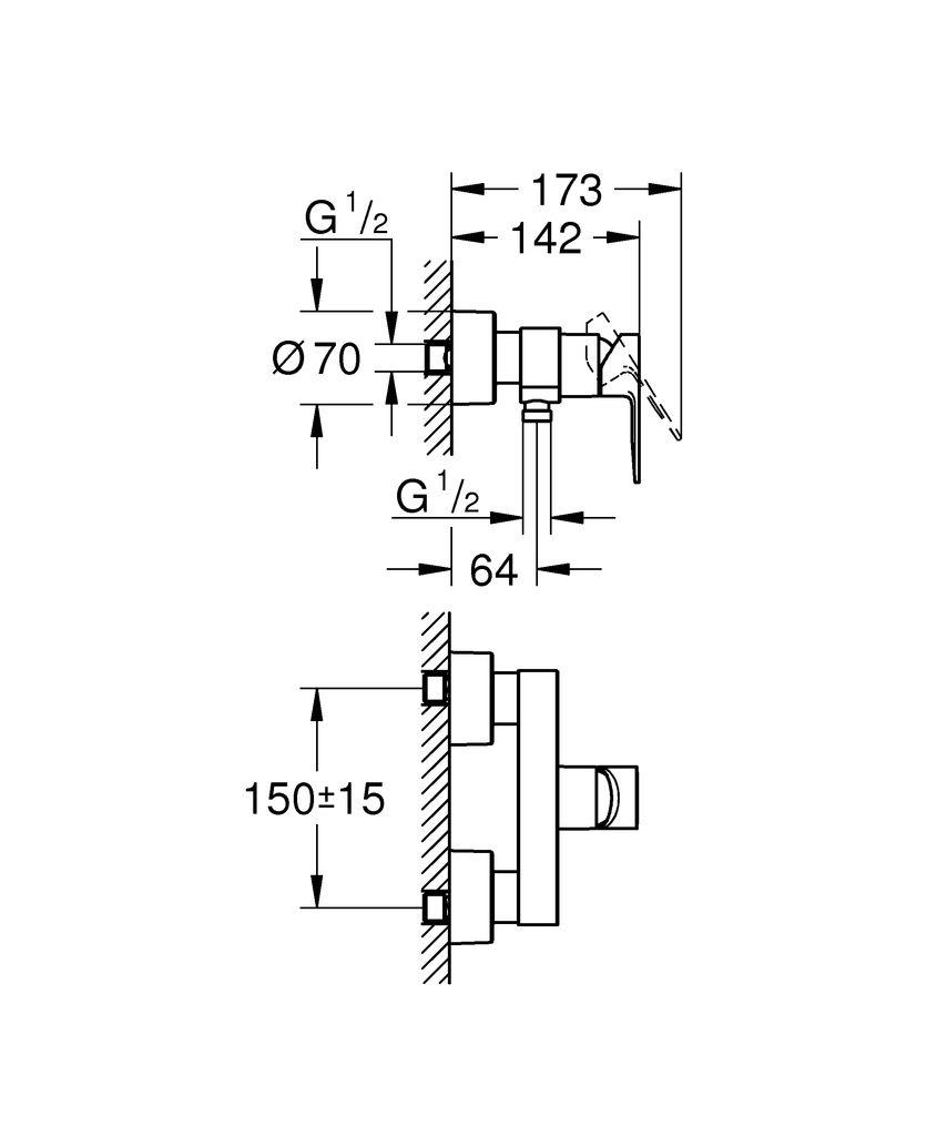 """Хромированный смеситель для душа Grohe """"Lineare New"""" для настенного монтажа включает в себя:металлический рычаг GROHE SilkMove керамический картридж 35 мм с ограничителем температуры GROHE StarLightотвод для душа 1/2""""встроенный обратный клапанскрытые S-образные эксцентрики с защитой от обратного потока.Минимальное давление 1,0 бар"""