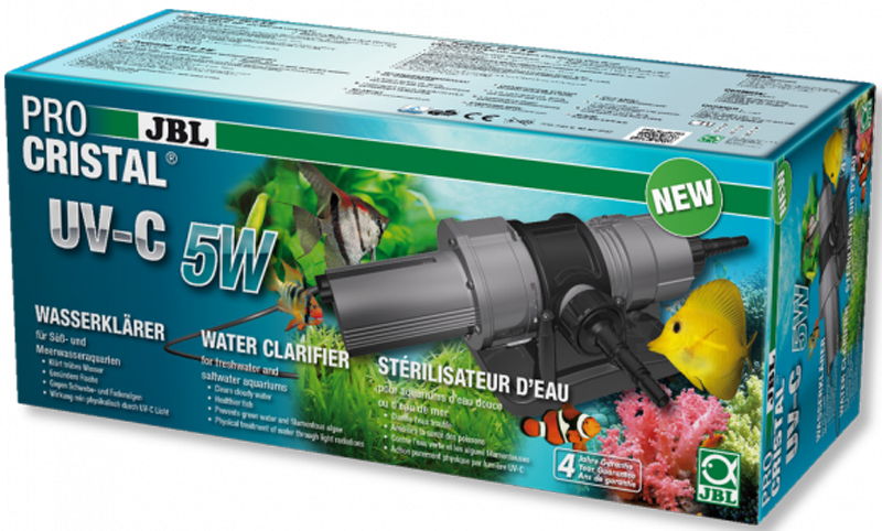 УФ-стерилизатор JBL ProCristal UV-C 5W, для аквариумов и прудов, 5 ВтJBL6036500JBL ProCristal UV-C 5W - Высокопроизводительный УФ-стерилизатор для аквариумов и прудов, 5 Вт