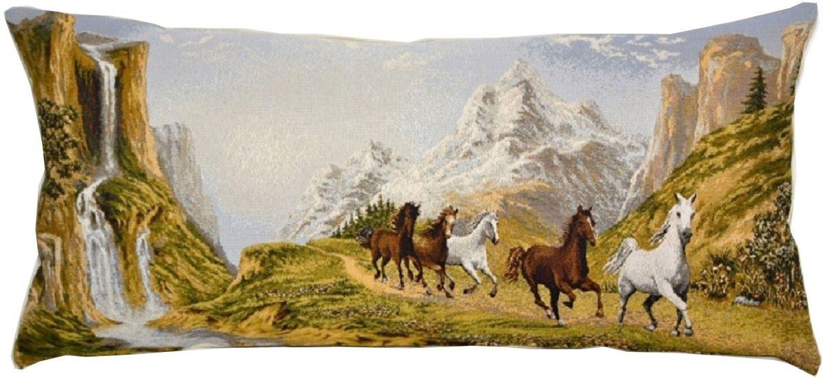 Декоративная подушка с наполнителем холлофайбер со съёмным чехлом на  молнии, выполненным из жаккарда - это яркий штрих в интерьере комнаты.  Лицевая сторона - гобелен (жаккардовое ткачество), оборотная сторона - однотонная ткань типа плюш.