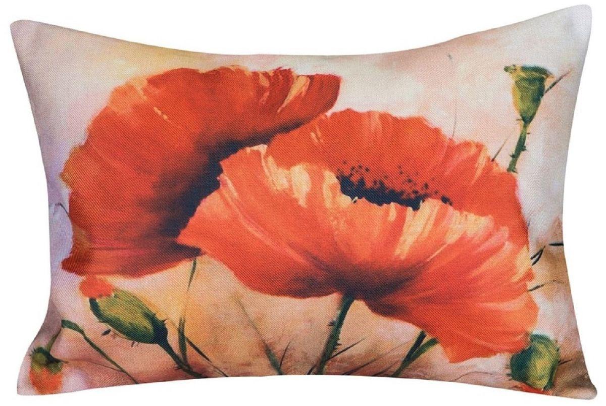 Подушка декоративная Рапира Маки, 45 х 65 см91226Декоративная подушка со съёмным чехлом на молнии. Лицевая сторона - оригинальный принт, выполненный на ткани искусственный лен, оборотная сторона - однотонная ткань из искусственного льна.