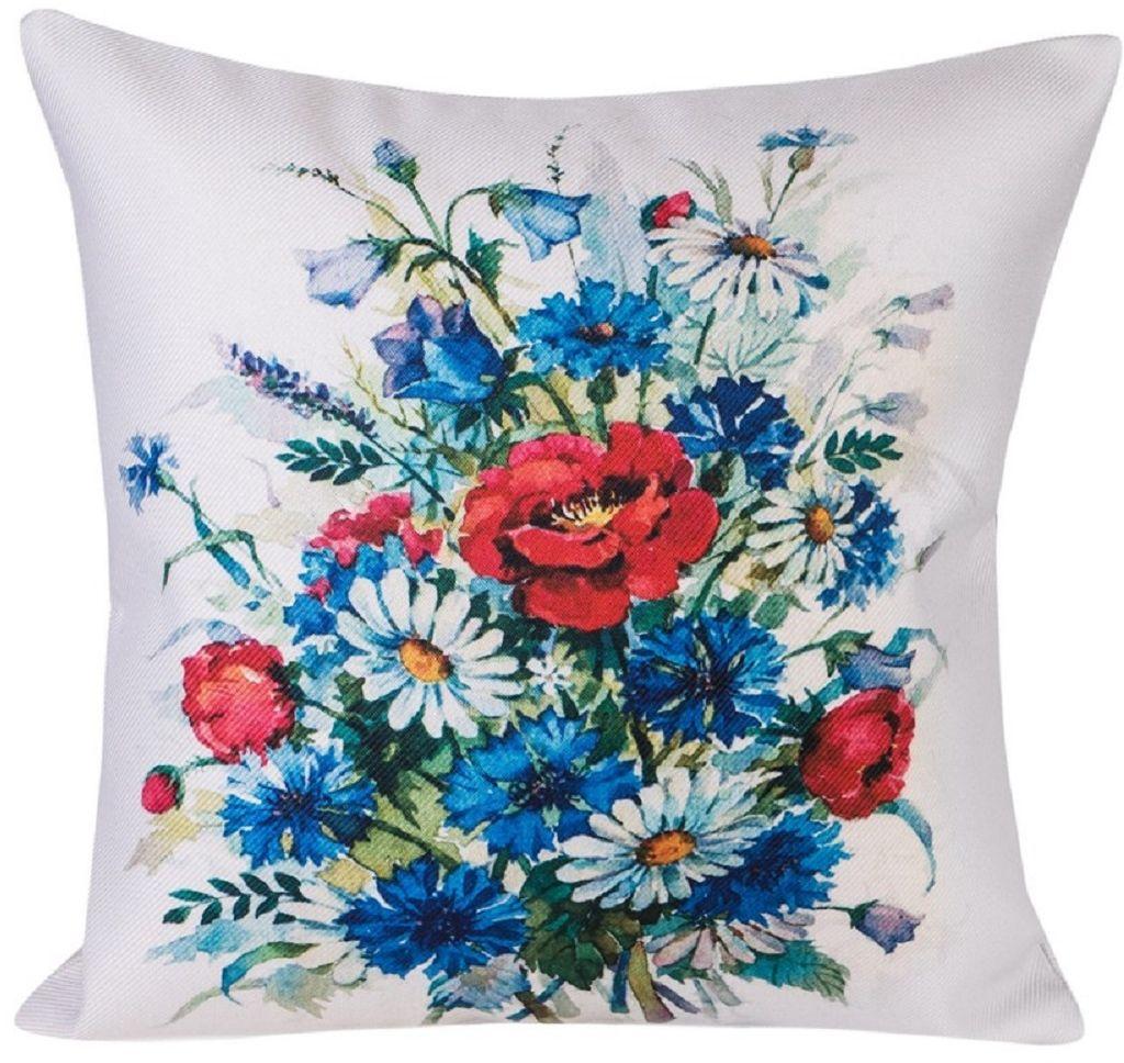 Наволочка декоративная Рапира Луговые цветы, 45 х 45 см9173Декоративная наволочка на молнии. Лицевая сторона - оригинальный принт, выполненный на ткани искусственный лен. Оборотная сторона - однотонная ткань из искусственного льна.