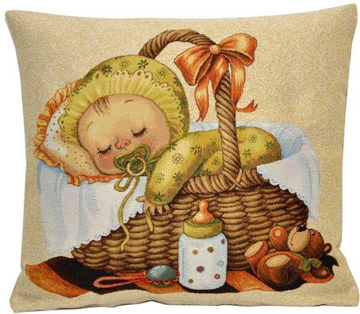 Подушка декоративная Рапира Мамино счастье. Зайчонок, 33 х 33 см5322/1Декоративная гобеленовая подушка со съёмным чехлом на молнии, материал - хлопок с полиэфиром. Лицевая сторона - гобелен (жаккардовое ткачество), оборотная сторона - однотонная ткань типа плюш.