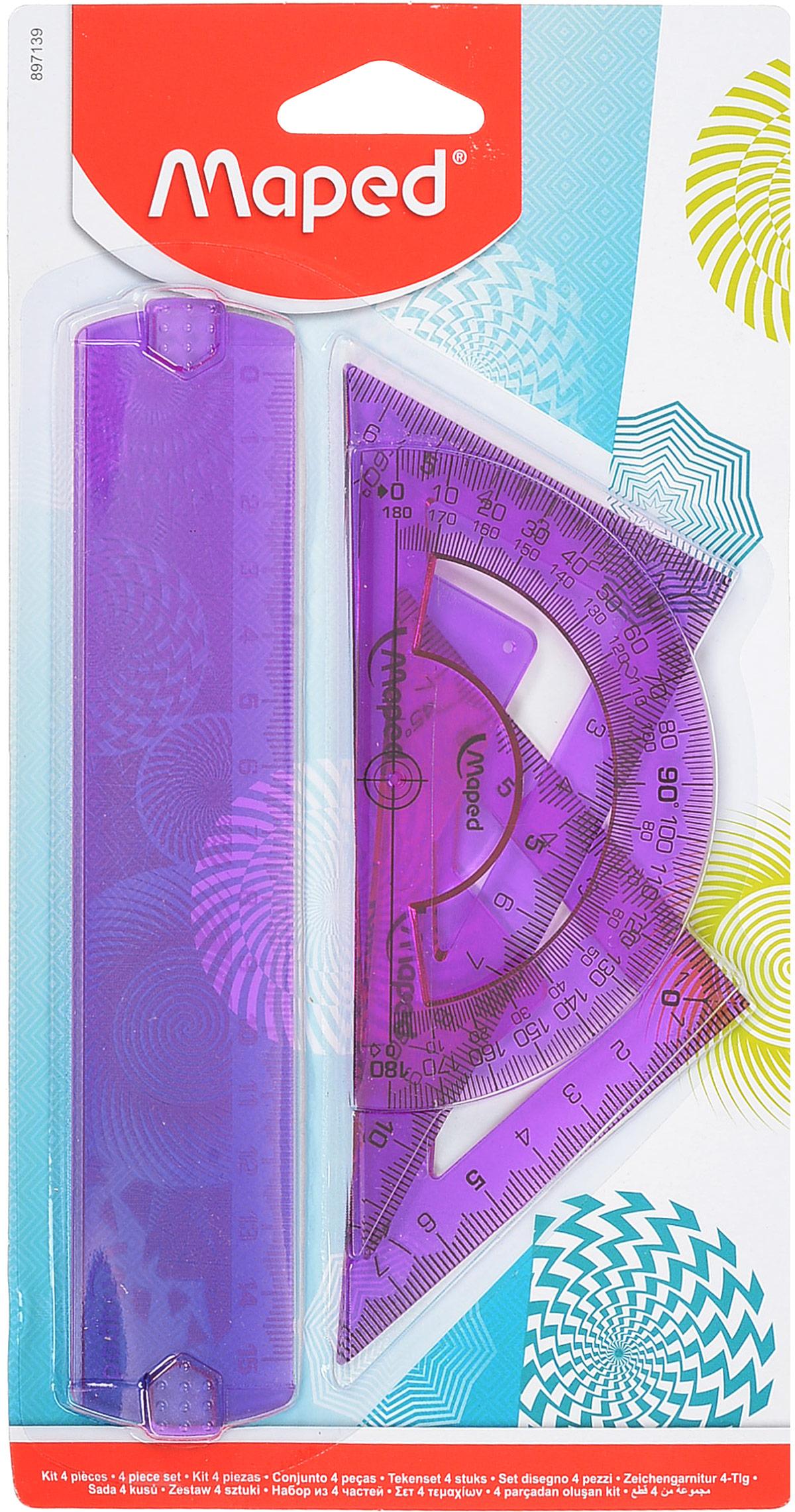 Maped Геометрический набор Start мини 4 предмета цвет фиолетовый897139_фиолетовыйГеометрический набор Maped, выполненный из цветного прозрачного пластика, состоит из трех предметов: линейки на 15 сантиметров, транспортира на 180 градусов и 2 угольников. Один угольник с углом 45 градусов, второй угольник - 60 градусов. Нулевая отметка расположена в вершине угольников, что позволяет измерять и чертить одновременно.Шкала выполнена гравировкой.