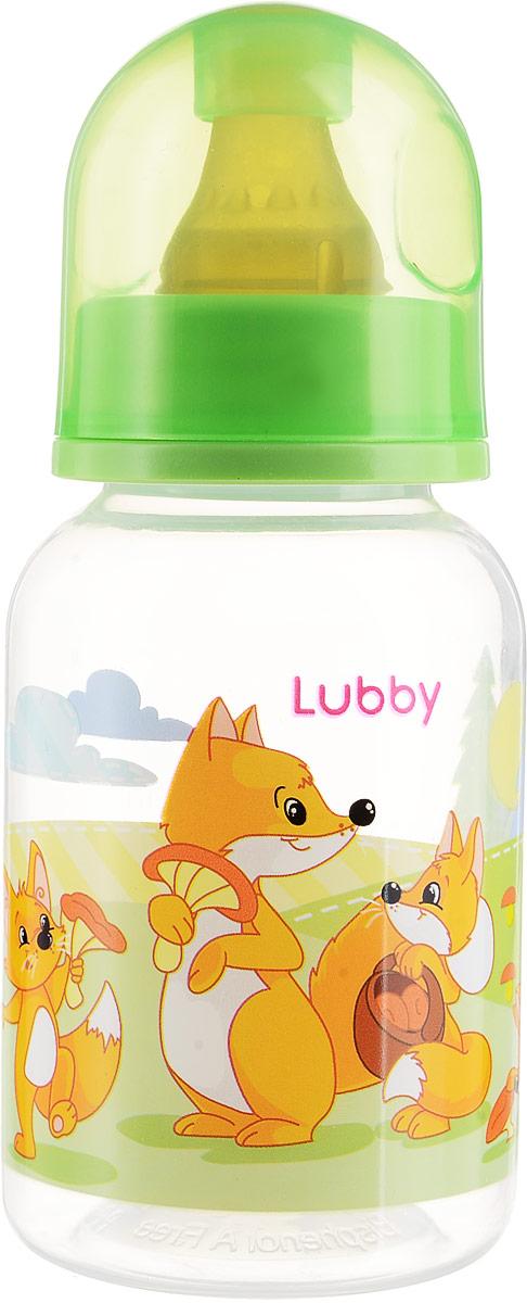 Lubby Бутылочка для кормления с латексной соской Веселые животные Лисички от 0 месяцев 125 мл