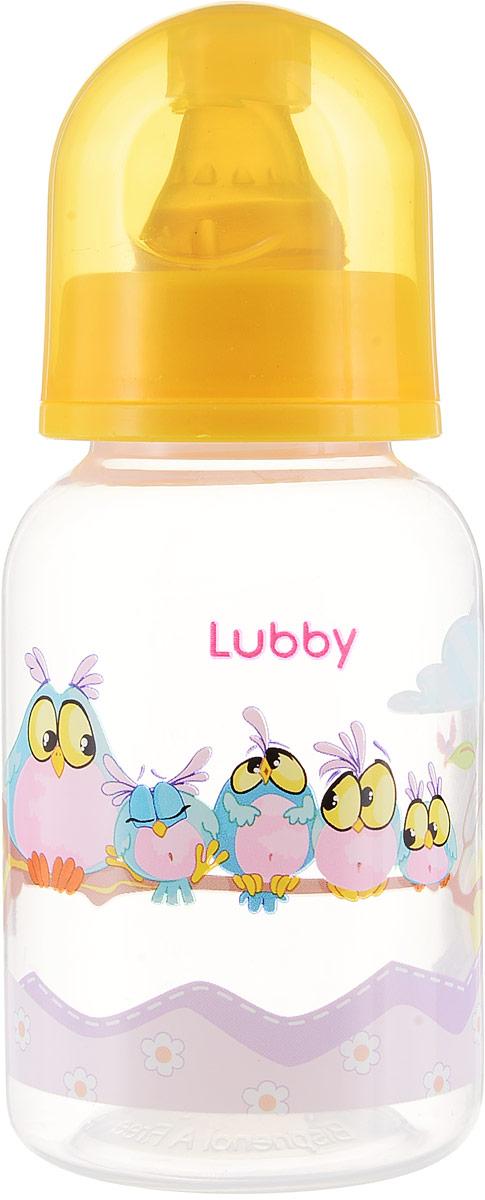 Lubby Бутылочка для кормления с латексной соской Веселые животные Совы от 0 месяцев 125 мл -  Бутылочки
