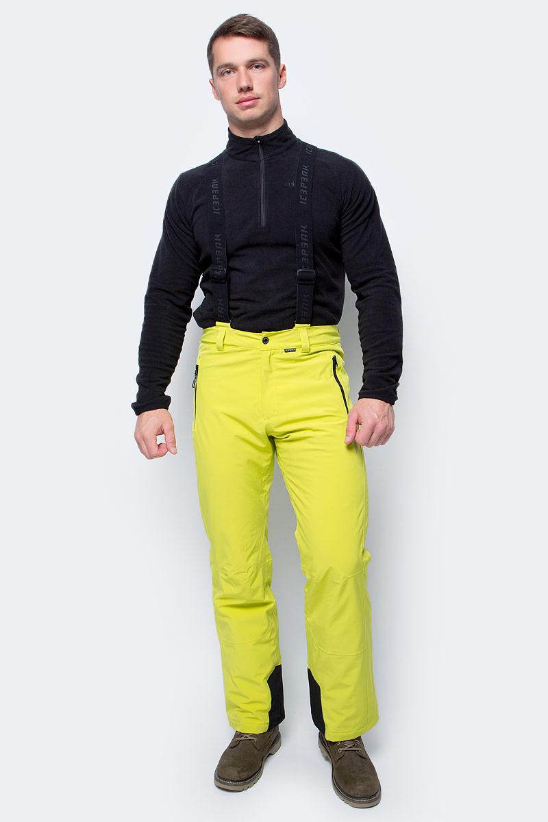Брюки утепленные мужские Icepeak, цвет: светло-зеленый. 857016535IV_510. Размер 50857016535IV_510Утепленные брюки от Icepeak выполнены из водонепроницаемого и ветрозащитного материала. Модель со съемными подтяжками в талии застегивается на кнопку и имеет ширинку на молнии и шлевки для ремня. Брюки дополнены карманами на молниях.