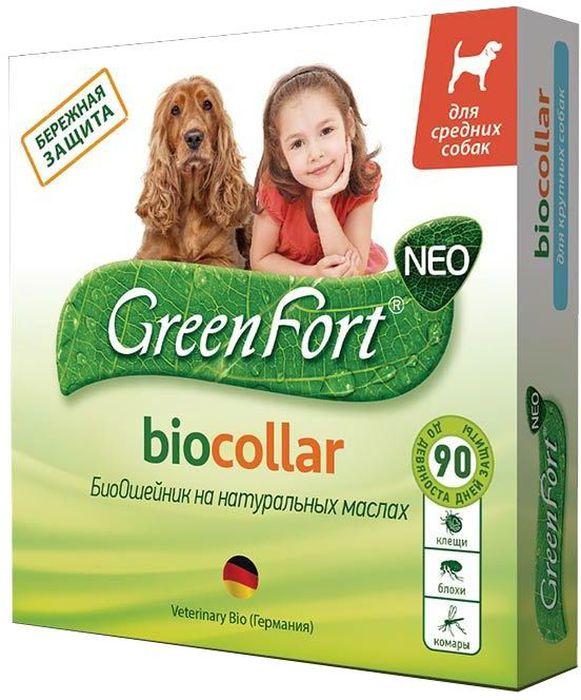 Био-ошейник GreenFort Neo для средних собак, цвет: зеленый, 65 смG205Био-ошейник GreenFort Neo - средство для бережной защиты собак от эктопаразитов (клещей, блох, власоедов, комаров, мух, слепней).Защитное действие продолжается до 3 месяцев.Эфирные масла, входящие в состав, отпугивают эктопаразитов, а также снимают раздражение и зуд.GreenFort Neo – это эффективные средства для бережной защиты животных от эктопаразитов, созданное на основе натуральных масел и диметикона.