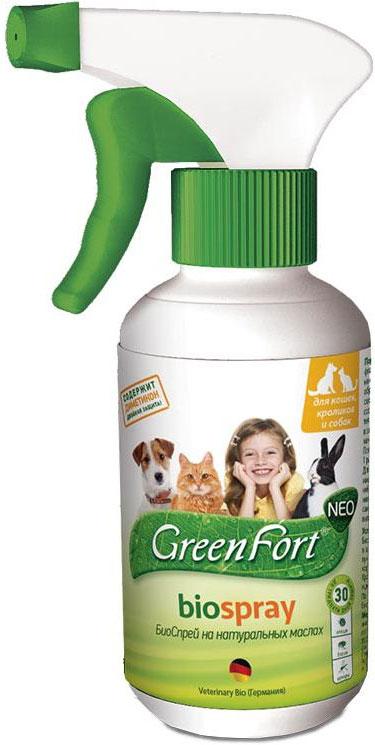 Био-спрей GreenFort Neo для кошек, кроликов и собак, от клещей, блох, вшей, власоедов, комаров, слепней, 200 мл от клещей щенку 3 месяца