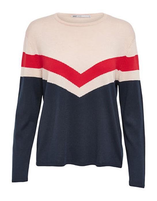 Пуловер женский Only, цвет: темно-синий, красный, белый. 15139876_Cloud Dancer. Размер L (48)15139876_Cloud DancerСтильный женский пуловер Only разнообразит ваш повседневный гардероб. Модель прямого кроя с длинными рукавами выполнена из высококачественного трикотажа мелкой вязки с контрастной полоской. Круглый вырез горловины, манжеты рукавов и низ изделия связаны резинкой. Модель подойдет для прогулок и дружеских встреч и будет отлично сочетаться с джинсами и брюками, а также гармонично смотреться с юбками. Мягкая ткань на основе полиэстера и вискозы приятна на ощупь и комфортна в носке.