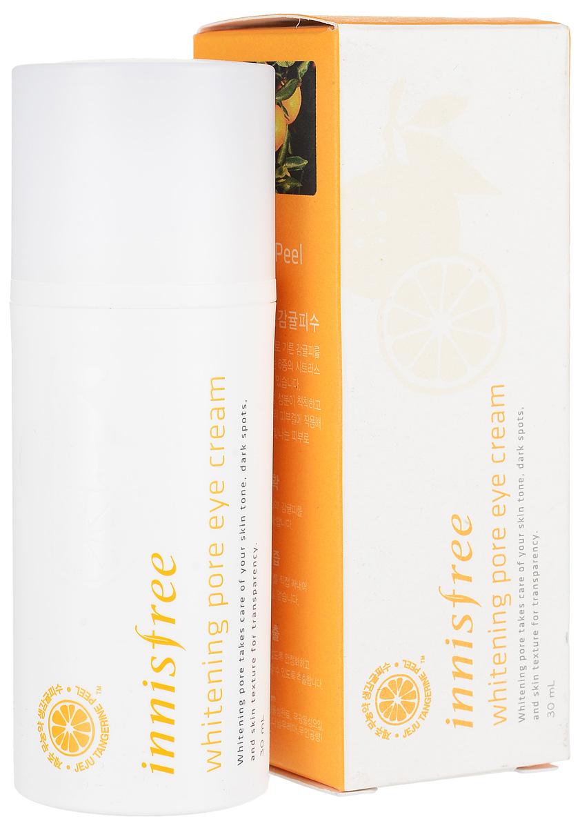 Innisfree Осветляющий крем для век, 30 мл545513Укрепляющий и оживляющий крем для глаз с устойчивой формой витамина С для яркой, ровной и чистой кожи. Whitening Pore Eye Cream - это третья ступень ежедневного ухода за кожей. Средство обладает нежной текстурой, быстро впитывается в кожу, приятно освежает и смягчает кожу. Активные компоненты крема эффективно питают, увлажняют и укрепляют нежную кожу вокруг глаз, повышают тонус кожи, предупреждают старение, разглаживают уже существующие морщины, улучшают тон кожи и делают ее более упругой, эластичной и подтянутой.