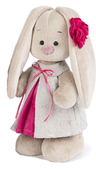 Budibasa Мягкая игрушка Зайка Ми в сером платье из жаккарда 32 см