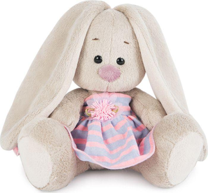 Budibasa Мягкая игрушка Зайка Ми в платье в полоску 15 см