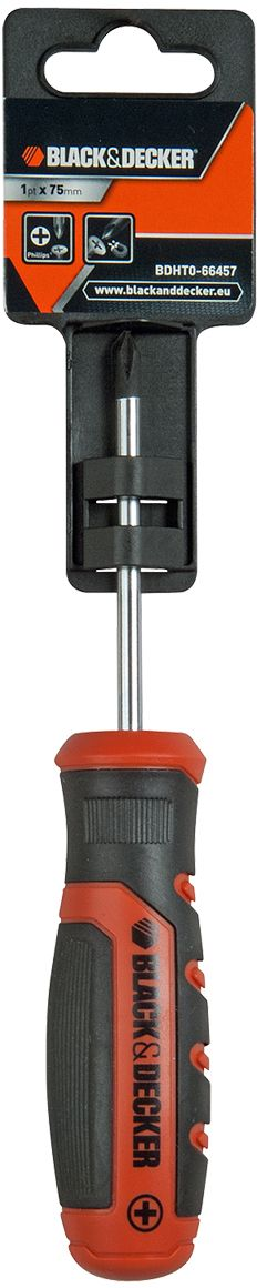 Отвертка Black & Decker, под шлиц, 1PH x 75 мм. BDHT0-66457BDHT0-66457Отвертка Black & Decker под шлиц изготовлена из метала. Эргономичная нескользящая рукоятка изготовлена из качественного пластика.