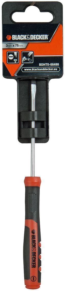 Отвертка Black & Decker, под прямой шлиц, 3 x 75 мм. BDHT0-66488BDHT0-66488Отвертка Black & Decker под прямой шлиц изготовлена из метала. Эргономичная нескользящая рукоятка изготовлена из качественного пластика.