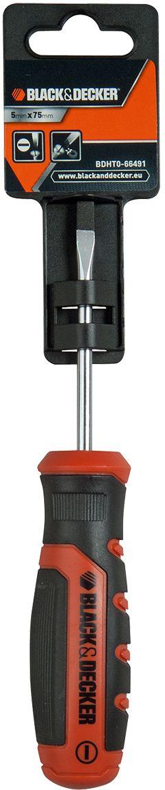 Отвертка шлицевая Black & Decker, 5 x 75 мм. BDHT0-66491BDHT0-66491Шлицевая отвертка - это простой и удобный в работе ручной инструмент для выполнения ремонтных и сборочных операций, где применяются винты с плоским рабочим профилем. Отвертка проста и удобна в эксплуатации, полностью выполнена из надежных материалов.