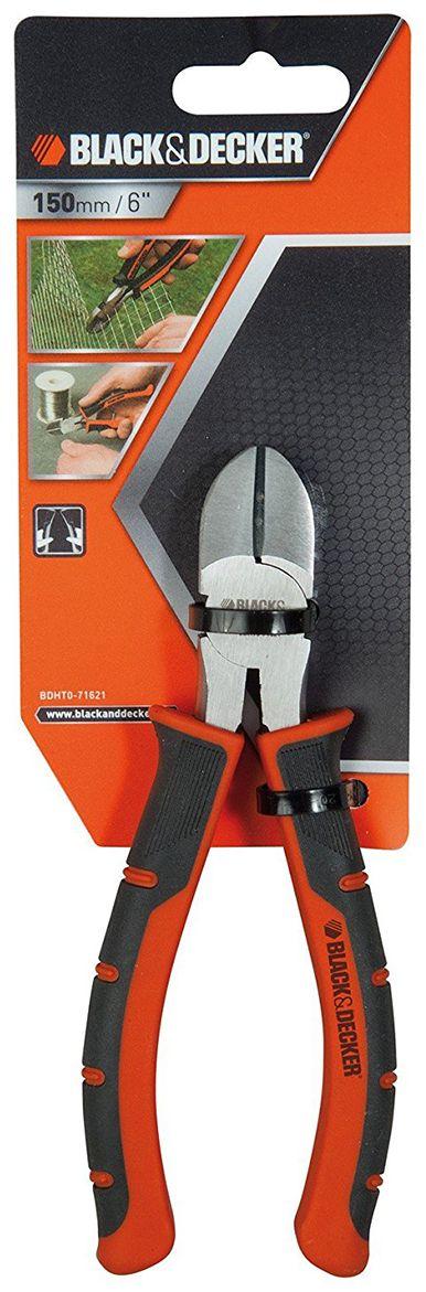 Кусачки диагональные Black & Decker, 15 см BDHT0-71621BDHT0-71621Диагональные кусачки - незаменимый инструмент для реза провода, проволоки или кабеля. Литые рукоятки с резиновым покрытием, обеспечивают надежный захват и удобную работу.