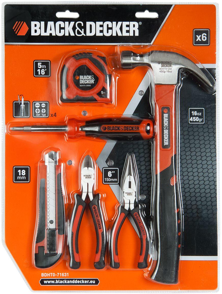 Набор инструментов Black & Decker, 6 предметов. BDHT0-71631BDHT0-71631Набор инструментов Black & Decker предназначен для проведения различных бытовых работ. Рабочие части инструментов выполнены из стали.В набор входят: Рулетка измерительная (5 м); Отвертка универсальная (6 насадок);Нож выдвижной со сменными лезвиями (18 мм);Кусачки (150 мм);Плоскогубцы (150 мм);Молоток-гвоздодер (350 г).
