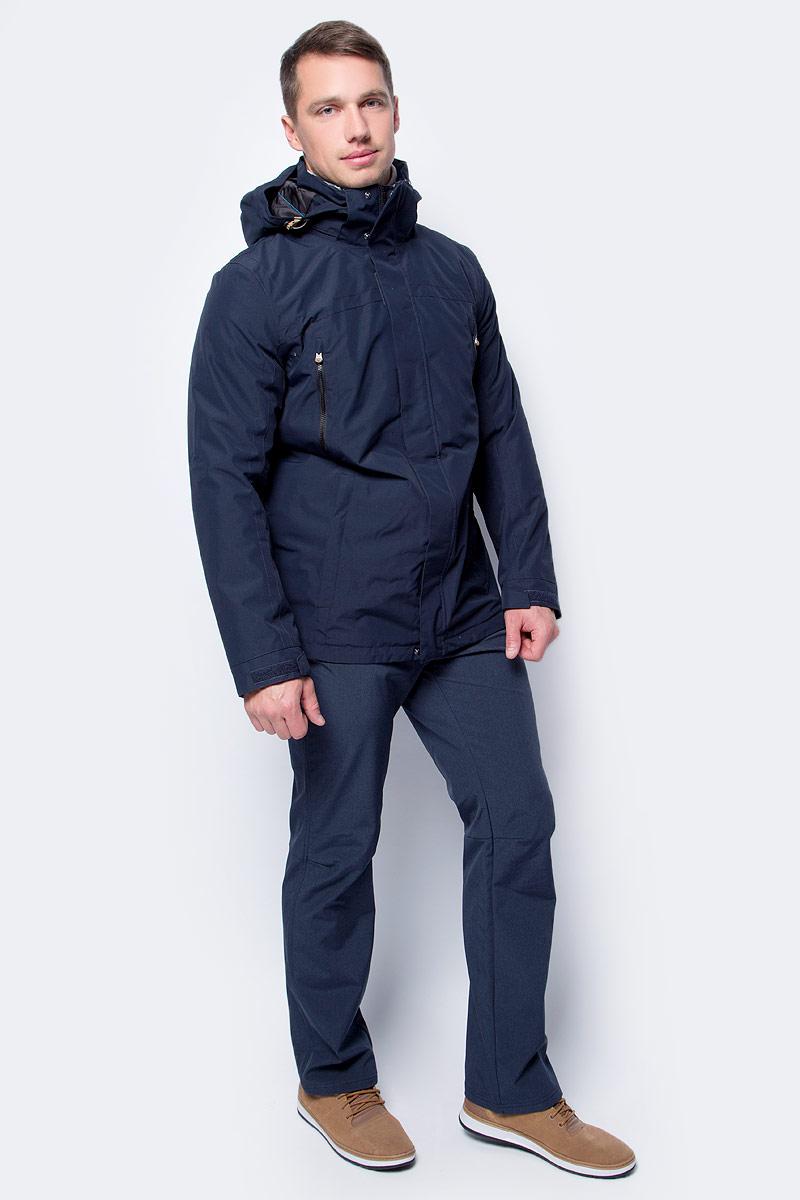 Куртка мужская Icepeak, цвет: темно-синий. 856070575IV_390. Размер 56856070575IV_390Куртка мужская Icepeak выполнена из полиэстера. Модель с длинными рукавами и капюшоном застегивается на комбинированную застежку.