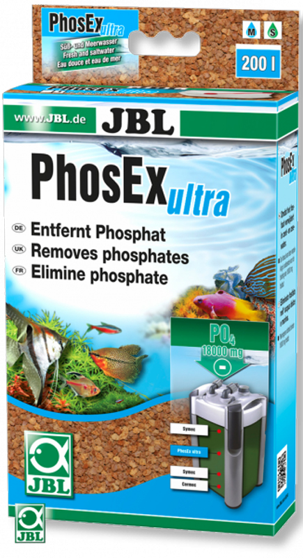 Материал фильтрующий JBL PhosEx Ultra, для удаления фосфатов, с мешком, 340 гJBL6254100JBL PhosEx Ultra для удаление фосфатов из аквариума: фильтрующий материал для использования в аквариумных фильтрах. Состоит из нерастворимого соединения железа, которое не выделяет ядов в воду.Применение: положите фильтрующий материал в универсальный мешок и поместите в фильтр. Нерастворимые соединения железа: не выделяют в воду никаких веществ. Для пресной и морской воды: 340 г для постоянного связывания 18000 мг фосфата.В комплекте: фильтрующий материал PhosEx ultra 340 г, в том числе сетчатый мешок, зажим.