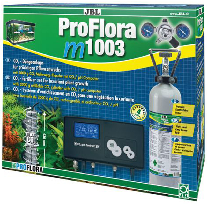 Установка для подачи СО2 в аквариум JBL ProFlora m1003, с пополняемым баллоном, для аквариумов от 300 до 1000 лJBL6302500JBL ProFlora m1003 - Система СО2 для аквариумов от 300 до 1000 литров с пополняемым баллоном 2000 г, подставкой для баллона, редуктором, pH-контроллером, реактором JBL Taifun, предохранительным клапаном, KH-тестом, соединительным шлангом 2 м.