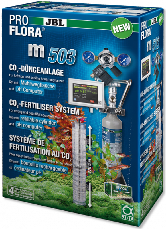 Установка для подачи СО2 в аквариум JBL ProFlora m503, с пополняемым баллоном, для аквариумов до 600 лJBL6318500JBL ProFlora m503 - CO2-система с пополняемым баллоном 500 г и pH-контроллером для аквариумов до 600 л