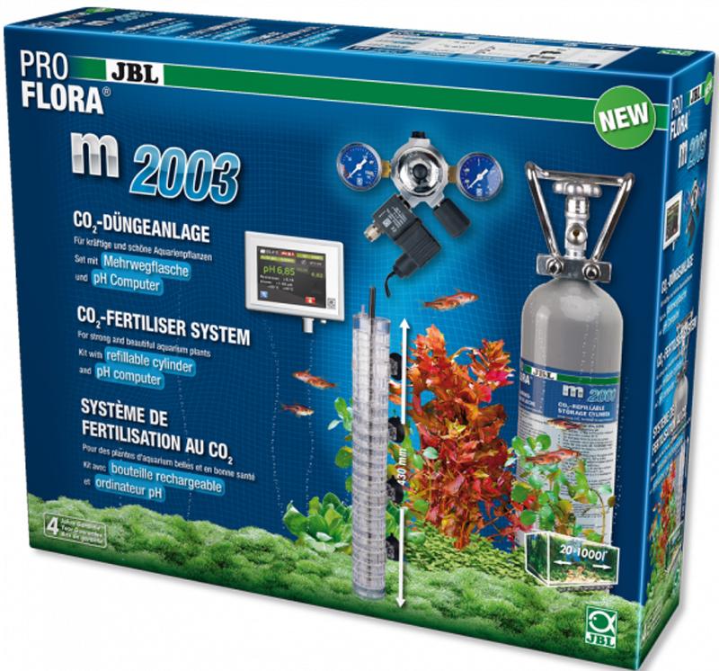 Установка для подачи СО2 в аквариум JBL ProFlora m2003, с пополняемым баллоном, для аквариумов до 1000 лJBL6318600JBL ProFlora m2003 - CO2-система с пополняемым баллоном 2000 г и pH-контроллером для аквариумов до 1000 л