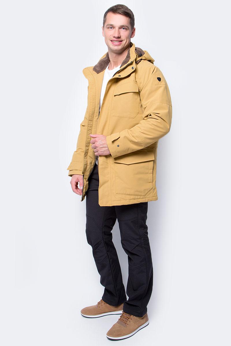 Куртка мужская Luhta, цвет: желтый. 838529348LV_435. Размер 48838529348LV_435Стильная мужская куртка Luhta изготовлена из полиэстера. Куртка с капюшоном застегивается на застежку-молнию и дополнительно на клапан с липучками. Капюшон регулируется с помощью шнурка. Спереди расположены три накладных кармана с клапанами и на груди - прорезной карман на застежке-молнии. Манжеты рукавов дополнены трикотажными напульсниками. Объем по линии талии можно регулировать за счет шнурка-кулиски со стопперами.