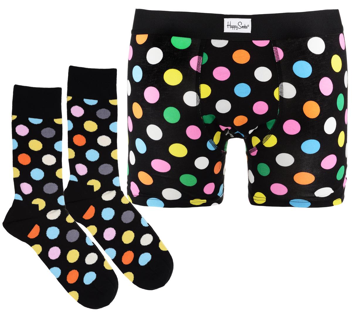 Комплект белья мужской Happy socks, цвет: черный, мультиколор. XBD61. Размер S (44)XBD61