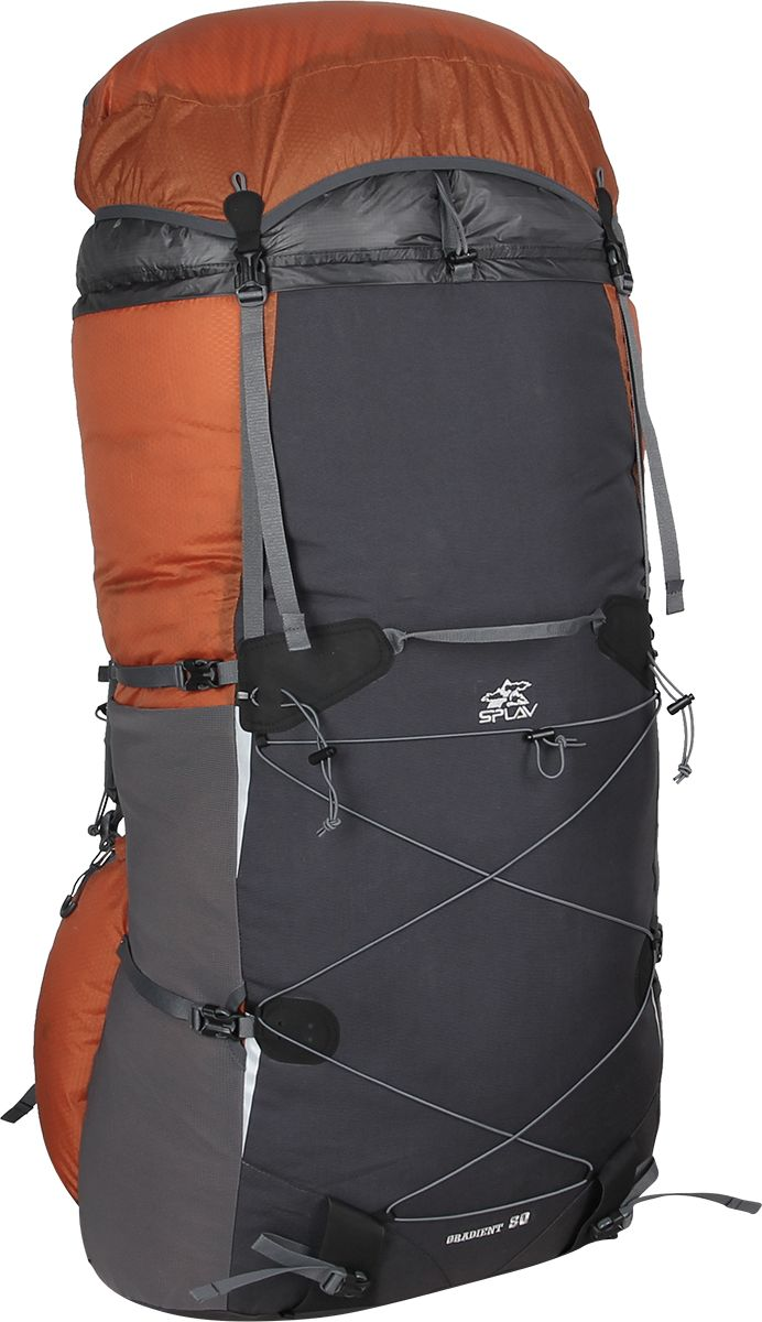 Рюкзак туристический Сплав Gradient 80, цвет: кирпичный, черный, 80 л5019175Сплав Gradient 80 - это полноценный, универсальный походный рюкзак. Он сочетает в себе поразительную легкость (1140г) с продуманной системой подвески и грамотной организацией полезного объема. Рюкзак изготовлен из легкой, прочной, износостойкой ткани 100% Nylon HONEYCOMB с двухсторонним силиконовым покрытием (3000 мм. вод.ст.), а дно рюкзака - из особо прочной Cordura 500D.Объемный тубус из прочного силиконизированного нейлона фиксируется верхней стяжкой.Поясной ремень и лямки (с регулируемой грудной стяжкой) анатомической формы с мягкой вентилируемой подкладкой из сетки Airmesh Coolmax.Cнизу, по бокам рюкзака расположены 2 объемных кармана на молнии, которые позволяют достать необходимые вещи не снимая рюкзака.На лямках рюкзака также есть петли для дополнительных карманов (в комплект не входят!). Съемный клапан с карманом может использоваться в качестве поясной сумки.Два больших боковых кармана из эластичной сетки фиксируются облегченными стяжками.В кармане два входа - сверху и сбоку, что позволяет пользоваться содержимым во время движения ( если, например, вы положили туда бутылку с водой), а также, разделив карман стяжкой, можно положить какие-то вещи сверху. Возможно также использовать полный объем.Система крепления трекинговых палок или ледового инструмента позволяет отцепить их от рюкзака или закрепить их прямо на ходу, не снимая рюкзак.Под днищем рюкзака - имеются петли для крепления не поместившегося в основной объем снаряжения.Рюкзак комплектуется дополнительной сеткой, которая крепится на клапане, позволяющей закрепить каску или другие необходимые предметы.Светоотражающие вставки на фасаде.S-образные лямки с мягкой вентилируемой подкладкой из сетки Airmesh Coolmax и регулируемой грудной стяжкой удобно сидят на плечах.Лямки жестко вшиты, что делает систему крепления более надежной. Для лучшего распределения нагрузки стропы лямок крепятся поверх пояса, сбоку рюкзака в треугольную пол