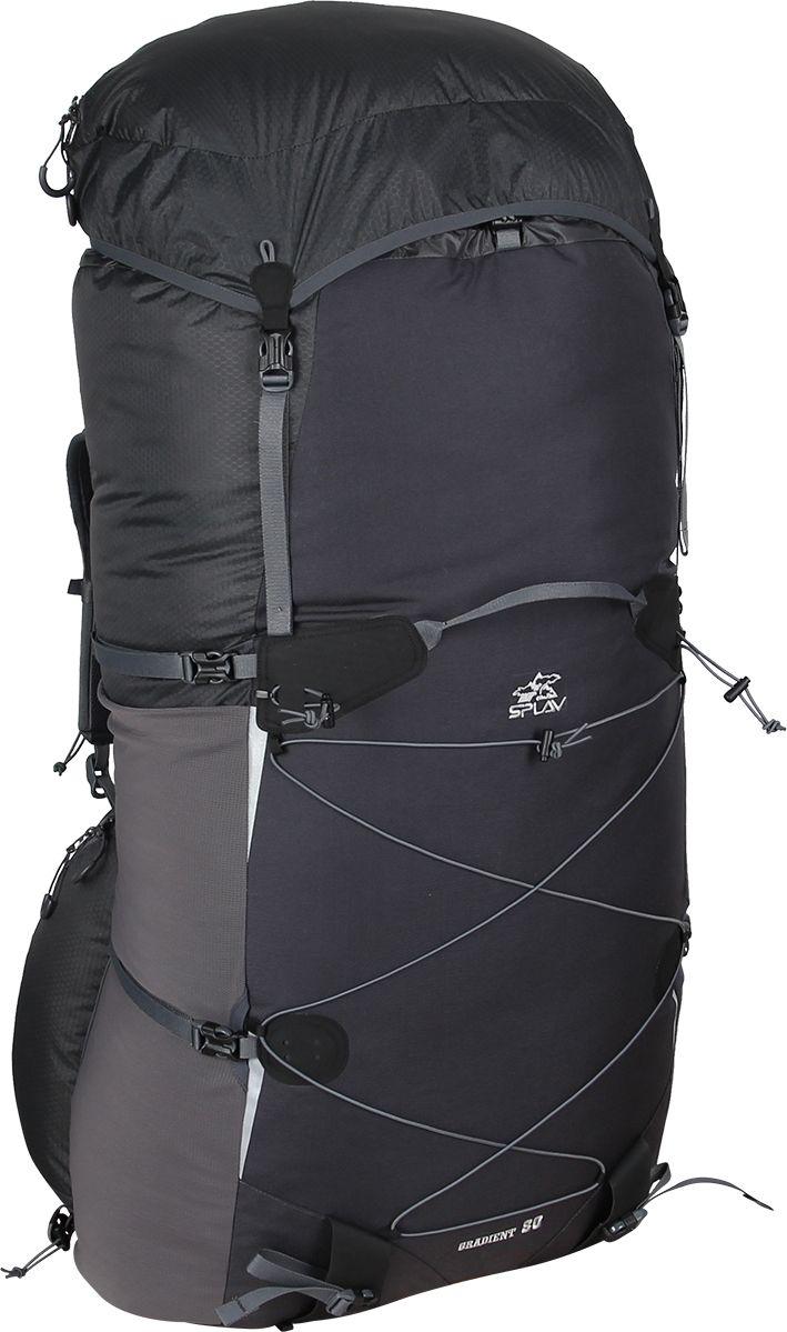 Рюкзак туристический Сплав Gradient 80, цвет: темно-серый, черный, 80 л5019190Сплав Gradient 80 - это полноценный, универсальный походный рюкзак. Он сочетает в себе поразительную легкость (1140г) с продуманной системой подвески и грамотной организацией полезного объема. Рюкзак изготовлен из легкой, прочной, износостойкой ткани 100% Nylon HONEYCOMB с двухсторонним силиконовым покрытием (3000 мм. вод.ст.), а дно рюкзака - из особо прочной Cordura 500D.Объемный тубус из прочного силиконизированного нейлона фиксируется верхней стяжкой.Поясной ремень и лямки (с регулируемой грудной стяжкой) анатомической формы с мягкой вентилируемой подкладкой из сетки Airmesh Coolmax.Cнизу, по бокам рюкзака расположены 2 объемных кармана на молнии, которые позволяют достать необходимые вещи не снимая рюкзака.На лямках рюкзака также есть петли для дополнительных карманов (в комплект не входят!). Съемный клапан с карманом может использоваться в качестве поясной сумки.Два больших боковых кармана из эластичной сетки фиксируются облегченными стяжками.В кармане два входа - сверху и сбоку, что позволяет пользоваться содержимым во время движения ( если, например, вы положили туда бутылку с водой), а также, разделив карман стяжкой, можно положить какие-то вещи сверху. Возможно также использовать полный объем.Система крепления трекинговых палок или ледового инструмента позволяет отцепить их от рюкзака или закрепить их прямо на ходу, не снимая рюкзак.Под днищем рюкзака - имеются петли для крепления не поместившегося в основной объем снаряжения.Рюкзак комплектуется дополнительной сеткой, которая крепится на клапане, позволяющей закрепить каску или другие необходимые предметы.Светоотражающие вставки на фасаде.S-образные лямки с мягкой вентилируемой подкладкой из сетки Airmesh Coolmax и регулируемой грудной стяжкой удобно сидят на плечах.Лямки жестко вшиты, что делает систему крепления более надежной. Для лучшего распределения нагрузки стропы лямок крепятся поверх пояса, сбоку рюкзака в треугольную п