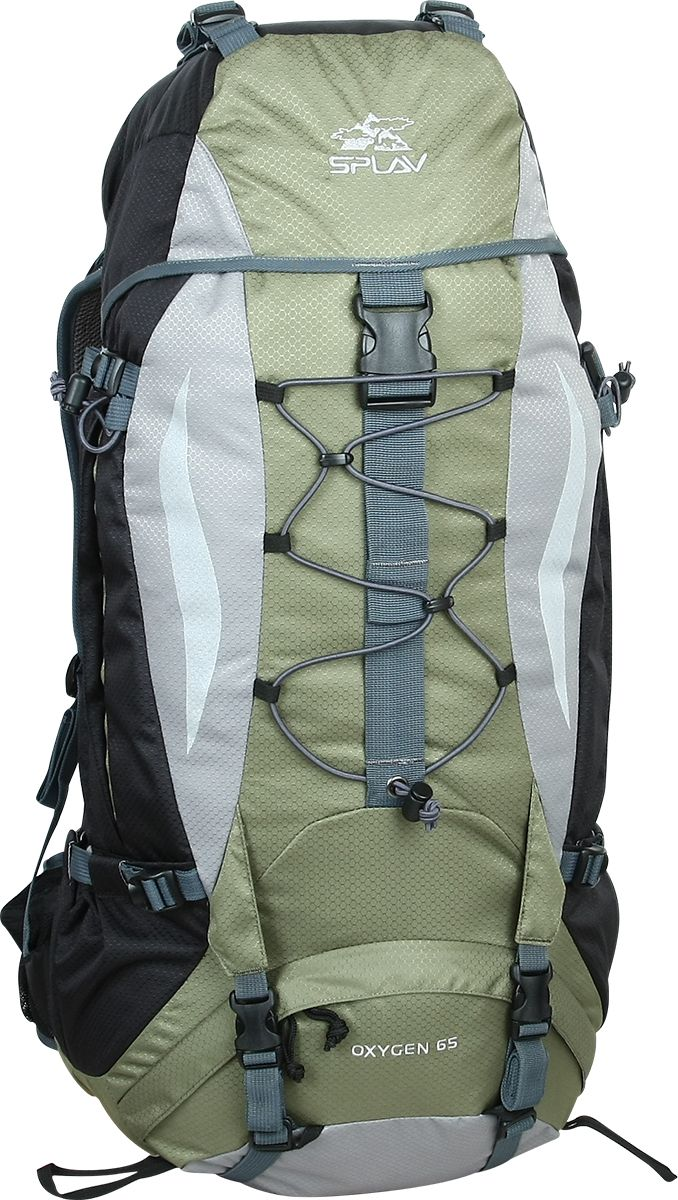Рюкзак туристический Сплав Oxygen 65, цвет: хаки, черный, 65 л5020250Универсальный среднеобъемный трекинговый рюкзак Сплав Oxygen 65 изготовлен из водонепроницаемого полиэстера.Максимальная вентиляция в рюкзаке достигается за счет профилированных уплотняющих накладок на спине, обтянутых плотной сеткой, а также использования в лямках и на поясе перфорированной уплотняющей пены с сеткой Air Mesh.Регулируемая по высоте подвесная система, находящаяся за вентиляционной подушкой, благодаря конструкции, минимально удаляет центр тяжести рюкзака от спины.Рюкзак имеет жестко зафиксированный клапан со съемными стропами для фиксации дополнительного груза.Нижний вход рюкзака фиксируется стяжками.Два боковых кармана с изменяемым объемом.Нижние карманы для длинномеров фиксируются собственными стяжками. На поясе два кармашка для мелочей. Дополнительные точки для крепления скального или ледового инструмента.Рюкзак совместим с питьевыми системами.Объем: 65 л. Вес: 1,63 кг.