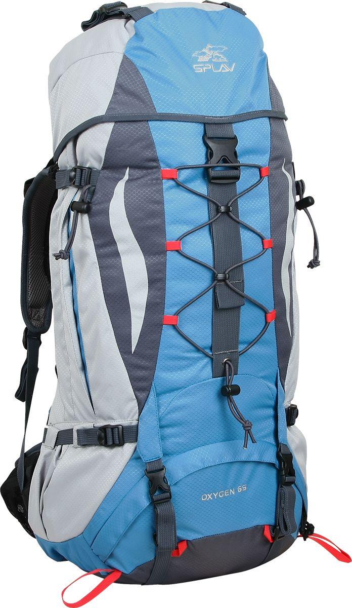 Рюкзак туристический Сплав Oxygen 65, цвет: светло-серый, голубой, 65 л5020260Универсальный среднеобъемный трекинговый рюкзак Сплав Oxygen 65 изготовлен из водонепроницаемого полиэстера.Максимальная вентиляция в рюкзаке достигается за счет профилированных уплотняющих накладок на спине, обтянутых плотной сеткой, а также использования в лямках и на поясе перфорированной уплотняющей пены с сеткой Air Mesh.Регулируемая по высоте подвесная система, находящаяся за вентиляционной подушкой, благодаря конструкции, минимально удаляет центр тяжести рюкзака от спины.Рюкзак имеет жестко зафиксированный клапан со съемными стропами для фиксации дополнительного груза.Нижний вход рюкзака фиксируется стяжками.Два боковых кармана с изменяемым объемом.Нижние карманы для длинномеров фиксируются собственными стяжками. На поясе два кармашка для мелочей. Дополнительные точки для крепления скального или ледового инструмента.Рюкзак совместим с питьевыми системами.Объем: 65 л. Вес: 1,63 кг.