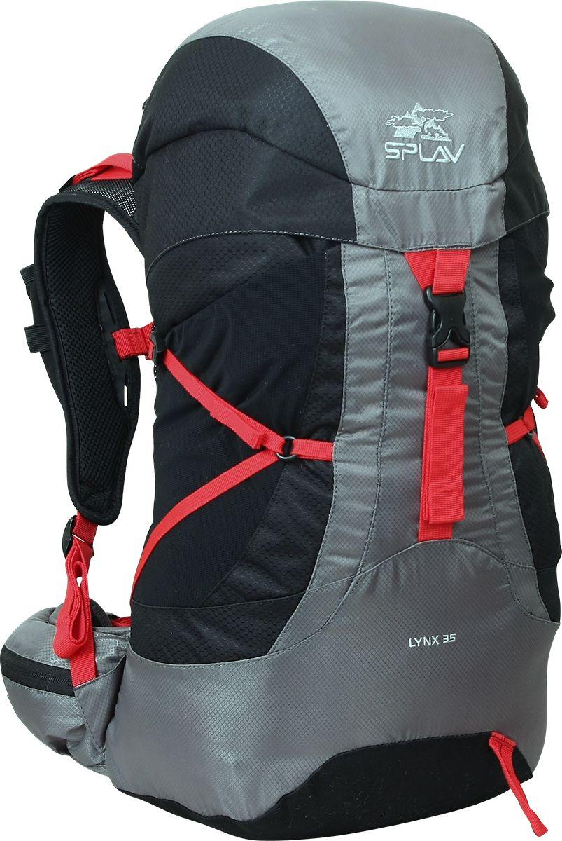 Рюкзак туристический Сплав Lynx 35, цвет: черный, 35 л5020340Небольшой облегченный трекинговый рюкзак Сплав Lynx 35.Максимальная вентиляция достигается за счет профилированных уплотняющих накладок на спине, обтянутых плотной сеткой, а также использования в лямках перфорированной уплотняющей пены с сеткой Air Mesh.Рюкзак имеет жестко зафиксированный клапан c дополнительным карманом на внутренней стороне.Два больших боковых кармана из эластичной сетки фиксируются облегченными стяжками.Внутри на боковых поверхностях имеются карманы из эластичной сетки для удобства укладки рюкзака.Анатомические лямки имеют регулируемую грудную стяжку и эластичные кармашки для телефона, рации или GPS навигатора. Пояс дополнен карманами для мелочей.В дне рюкзака карман со встроенной накидкой от дождя.Дополнительный внутренний кармашек для документов или мелочей.Рюкзак совместим с питьевыми системами.Объем: 35 л.Вес: 952 г.