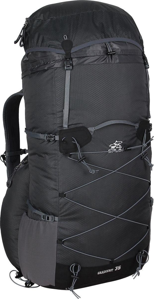 Рюкзак туристический Сплав Gradient 35, цвет: серый, 35 л. 50327905032790Сплав Gradient 35 - это облегченный универсальный рюкзак для походов в альпийском стиле, воскресных выходов, подходов к скальным маршрутам и прогулок по ледникам. Он сочетает в себе поразительную легкость с продуманной системой подвески и грамотной организацией полезного объема. S-образные лямки с мягкой вентилируемой подкладкой из сетки Airmesh Coolmax и регулируемой грудной стяжкой удобно сидят на плечах. Лямки жестко вшиты, что делает систему крепления более надежной. Для лучшего распределения нагрузки стропы лямок крепятся поверх пояса, сбоку рюкзака в треугольную полосу ткани. Посадка лямок регулируется оттяжками, которые крепятся к спинке рюкзака. Сверхлегкий каркас из напряженного стеклопластикового прутка создает необходимую жесткость, а крупноячеистая сетка в сочетании с тонкими профилированными уплотняющими накладками обеспечивает вентиляцию спины. Дополнительную жесткость придает вставка из пеноматериала, которая вставляется в карман на спине. При желании, вставку можно вынуть, и тем самым облегчить рюкзак еще больше. Рюкзак изготовлен из легкой, прочной, износостойкой ткани 100% Nylon Honeycomb c двухсторонним силиконовым покрытием, а дно рюкзака - из особо прочной Cordura 500D.Объем: 35 л. Вес: 730 г. Вес клапана: 73 г. Основное отделение (Ш х В х Т): 33 х 57 х 16 см. Карман клапана (Ш х В х Т): 25 х 8 х 20 см.Что взять с собой в поход?. Статья OZON Гид
