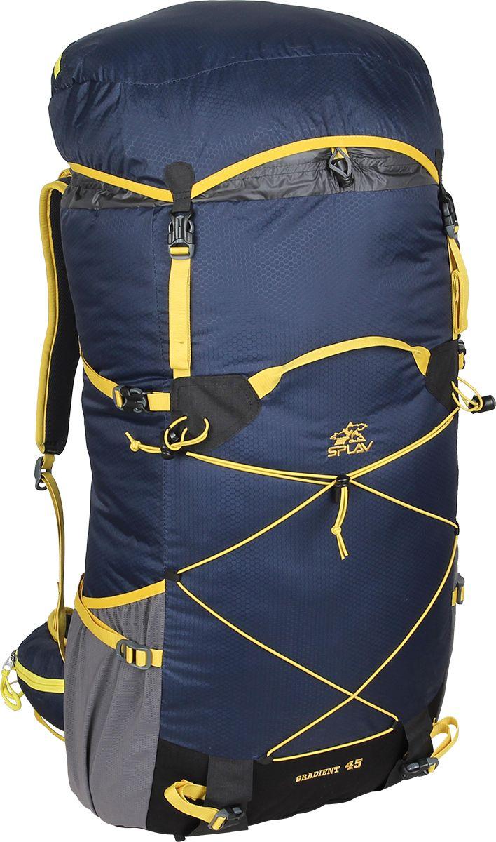Рюкзак туристический Сплав Gradient 45, цвет: темно-синий, 35 л5035361Сплав Gradient 45 - это облегченный универсальный рюкзак для походов в альпийском стиле, воскресных выходов, подходов к скальным маршрутам и прогулок по ледникам. Он сочетает в себе поразительную легкость с продуманной системой подвески и грамотной организацией полезного объема. S-образные лямки с мягкой вентилируемой подкладкой из сетки Airmesh Coolmax и регулируемой грудной стяжкой удобно сидят на плечах.Снизу рюкзака и по бокам имеются 2 объемных кармана на молнии, которые позволяют достать необходимые вещи не снимая рюкзака.Лямки жестко вшиты, что делает систему крепления более надежной. Для лучшего распределения нагрузки стропы лямок крепятся поверх пояса, сбоку рюкзака в треугольную полосу ткани.Посадка лямок регулируется оттяжками, которые крепятся к спинке рюкзака.Сверхлегкий каркас из напряженного стеклопластикового прутка создает необходимую жесткость, а крупноячеистая сетка в сочетании с тонкими профилированными уплотняющими накладками обеспечивает вентиляцию спины.Дополнительную жесткость придает вставка из пеноматериала, которая вставляется в карман на спине. При желании, вставку можно вынуть, и тем самым облегчить рюкзак еще больше.Рюкзак изготовлен из легкой, прочной, износостойкой ткани 100% Nylon Honeycomb c двухсторонним силиконовым покрытием, а дно рюкзака - из особо прочной Cordura 500D.Объем: 35 л.Вес: 730 г.Вес клапана: 73 г.Основное отделение (Ш х В х Т): 33 х 57 х 16 см.Карман клапана (Ш х В х Т): 25 х 8 х 20 см.