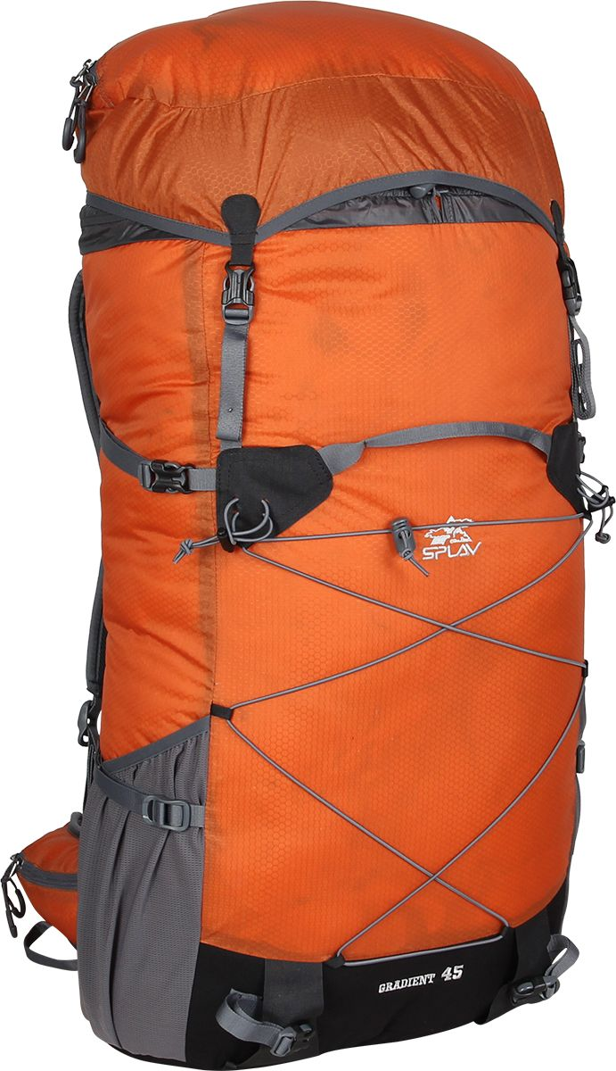 Рюкзак туристический Сплав Gradient 45, цвет: кирпичный, 35 л5035375Сплав Gradient 45 - это облегченный универсальный рюкзак для походов в альпийском стиле, воскресных выходов, подходов к скальным маршрутам и прогулок по ледникам. Он сочетает в себе поразительную легкость с продуманной системой подвески и грамотной организацией полезного объема. S-образные лямки с мягкой вентилируемой подкладкой из сетки Airmesh Coolmax и регулируемой грудной стяжкой удобно сидят на плечах.Cнизу рюкзака и по бокам имеются 2 объемных кармана на молнии, которые позволяют достать необходимые вещи не снимая рюкзака.Лямки жестко вшиты, что делает систему крепления более надежной. Для лучшего распределения нагрузки стропы лямок крепятся поверх пояса, сбоку рюкзака в треугольную полосу ткани.Посадка лямок регулируется оттяжками, которые крепятся к спинке рюкзака.Сверхлегкий каркас из напряженного стеклопластикового прутка создает необходимую жесткость, а крупноячеистая сетка в сочетании с тонкими профилированными уплотняющими накладками обеспечивает вентиляцию спины.Дополнительную жесткость придает вставка из пеноматериала, которая вставляется в карман на спине. При желании, вставку можно вынуть, и тем самым облегчить рюкзак еще больше.Рюкзак изготовлен из легкой, прочной, износостойкой ткани 100% Nylon Honeycomb c двухсторонним силиконовым покрытием, а дно рюкзака - из особо прочной Cordura 500D.Объем: 35 л.Вес: 730 г.Вес клапана: 73 г.Основное отделение (Ш х В х Т): 33 х 57 х 16 см.Карман клапана (Ш х В х Т): 25 х 8 х 20 см.