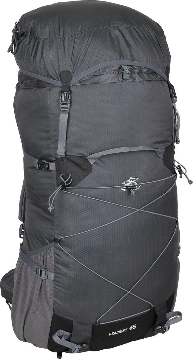 Рюкзак туристический Сплав Gradient 45, цвет: серый, 35 л5035390Сплав Gradient 45 - это облегченный универсальный рюкзак для походов в альпийском стиле, воскресных выходов, подходов к скальным маршрутам и прогулок по ледникам. Он сочетает в себе поразительную легкость с продуманной системой подвески и грамотной организацией полезного объема. S-образные лямки с мягкой вентилируемой подкладкой из сетки Airmesh Coolmax и регулируемой грудной стяжкой удобно сидят на плечах. Cнизу рюкзака и по бокам имеются 2 объемных кармана на молнии, которые позволяют достать необходимые вещи не снимая рюкзака. Лямки жестко вшиты, что делает систему крепления более надежной. Для лучшего распределения нагрузки стропы лямок крепятся поверх пояса, сбоку рюкзака в треугольную полосу ткани. Посадка лямок регулируется оттяжками, которые крепятся к спинке рюкзака. Сверхлегкий каркас из напряженного стеклопластикового прутка создает необходимую жесткость, а крупноячеистая сетка в сочетании с тонкими профилированными уплотняющими накладками обеспечивает вентиляцию спины. Дополнительную жесткость придает вставка из пеноматериала, которая вставляется в карман на спине. При желании, вставку можно вынуть, и тем самым облегчить рюкзак еще больше. Рюкзак изготовлен из легкой, прочной, износостойкой ткани 100% Nylon Honeycomb c двухсторонним силиконовым покрытием, а дно рюкзака - из особо прочной Cordura 500D.Объем: 35 л. Вес: 730 г. Вес клапана: 73 г. Основное отделение (Ш х В х Т): 33 х 57 х 16 см. Карман клапана (Ш х В х Т): 25 х 8 х 20 см.Что взять с собой в поход?. Статья OZON Гид