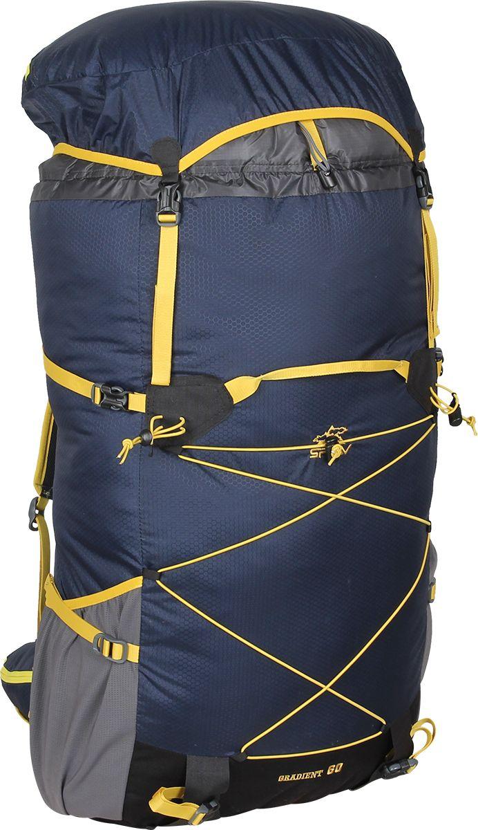 Рюкзак туристический Сплав Gradient 60, цвет: темно-синий, 60 л5035461Сплав Gradient 60 - это среднеобъемный рюкзак для походов в альпийском стиле, треккинга, подходов к скальным маршрутам и прогулок по ледникам. Он сочетает в себе поразительную легкость с продуманной системой подвески и грамотной организацией полезного объема.Сверхлегкий каркас из напряженного стеклопластикового прутка создает необходимую жесткость, а крупноячеистая сетка в сочетании с тонкими профилированными уплотняющими накладками обеспечивает вентиляцию спины.Рюкзак изготовлен из легкой, прочной, износостойкой ткани 100% Nylon HONEYCOMB с двухсторонним силиконовым покрытием (3000 мм. вод.ст.), а дно рюкзака - из особо прочной Cordura® 500D.Поясной ремень и лямки (с регулируемой грудной стяжкой) выполнены в анатомической форме с мягкой вентилируемой подкладкой из сетки Airmesh Coolmax.На поясе рюкзака имеется карман на молнии для мелких вещей, которые должны быть под рукой, и петли для карабинов.На лямках рюкзака также есть петли для дополнительных карманов (в комплект не входят!).Объемный тубус из прочного силиконизированного нейлона фиксируется верхней стяжкой.Съемный клапан с карманом может использоваться в качестве поясной сумки.Два больших боковых кармана из эластичной сетки фиксируются облегченными стяжками.Система крепления трекинговых палок или ледового инструмента позволяет отцепить их от рюкзака или закрепить их прямо на ходу, не снимая рюкзак.Под днищем расположены петли для крепления не поместившегося в основной объем снаряжения.Объем: 60 л.Вес: 860 г.Вес клапана: 76 г.Основное отделение (Ш х В х Т): 38 х 63 х 22 см.Карман клапана (Ш х В х Т): 38 х 8 х 22 см.