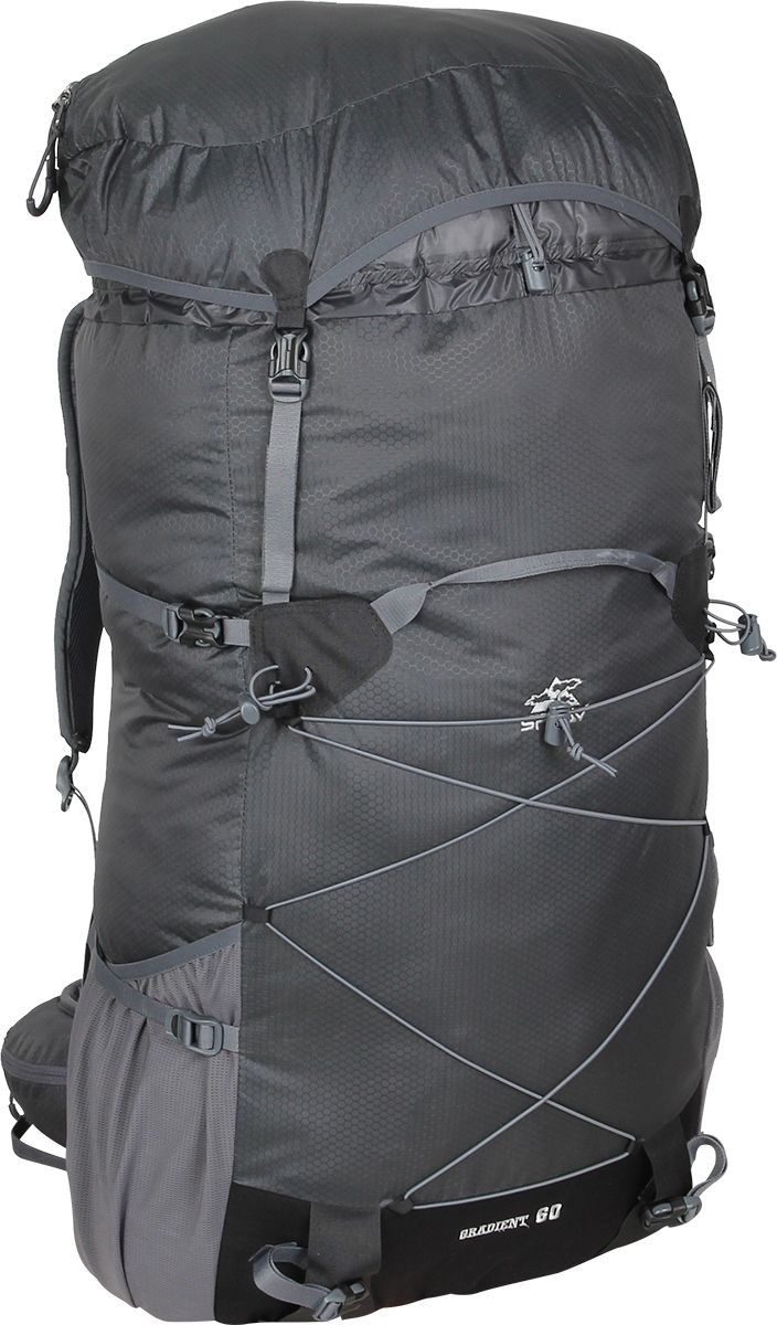 Рюкзак туристический Сплав Gradient 60, цвет: серый, 60 л5035490Сплав Gradient 60 - это среднеобъемный рюкзак для походов в альпийском стиле, треккинга, подходов к скальным маршрутам и прогулок по ледникам. Он сочетает в себе поразительную легкость с продуманной системой подвески и грамотной организацией полезного объема.Сверхлегкий каркас из напряженного стеклопластикового прутка создает необходимую жесткость, а крупноячеистая сетка в сочетании с тонкими профилированными уплотняющими накладками обеспечивает вентиляцию спины.Рюкзак изготовлен из легкой, прочной, износостойкой ткани 100% Nylon HONEYCOMB с двухсторонним силиконовым покрытием (3000 мм. вод.ст.), а дно рюкзака - из особо прочной Cordura® 500D.Поясной ремень и лямки (с регулируемой грудной стяжкой) выполнены в анатомической форме с мягкой вентилируемой подкладкой из сетки Airmesh Coolmax.На поясе рюкзака имеется карман на молнии для мелких вещей, которые должны быть под рукой, и петли для карабинов.На лямках рюкзака также есть петли для дополнительных карманов (в комплект не входят!).Объемный тубус из прочного силиконизированного нейлона фиксируется верхней стяжкой.Съемный клапан с карманом может использоваться в качестве поясной сумки.Два больших боковых кармана из эластичной сетки фиксируются облегченными стяжками.Система крепления трекинговых палок или ледового инструмента позволяет отцепить их от рюкзака или закрепить их прямо на ходу, не снимая рюкзак.Под днищем расположены петли для крепления не поместившегося в основной объем снаряжения.Объем: 60 л.Вес: 860 г.Вес клапана: 76 г.Основное отделение (Ш х В х Т): 38 х 63 х 22 см.Карман клапана (Ш х В х Т): 38 х 8 х 22 см.