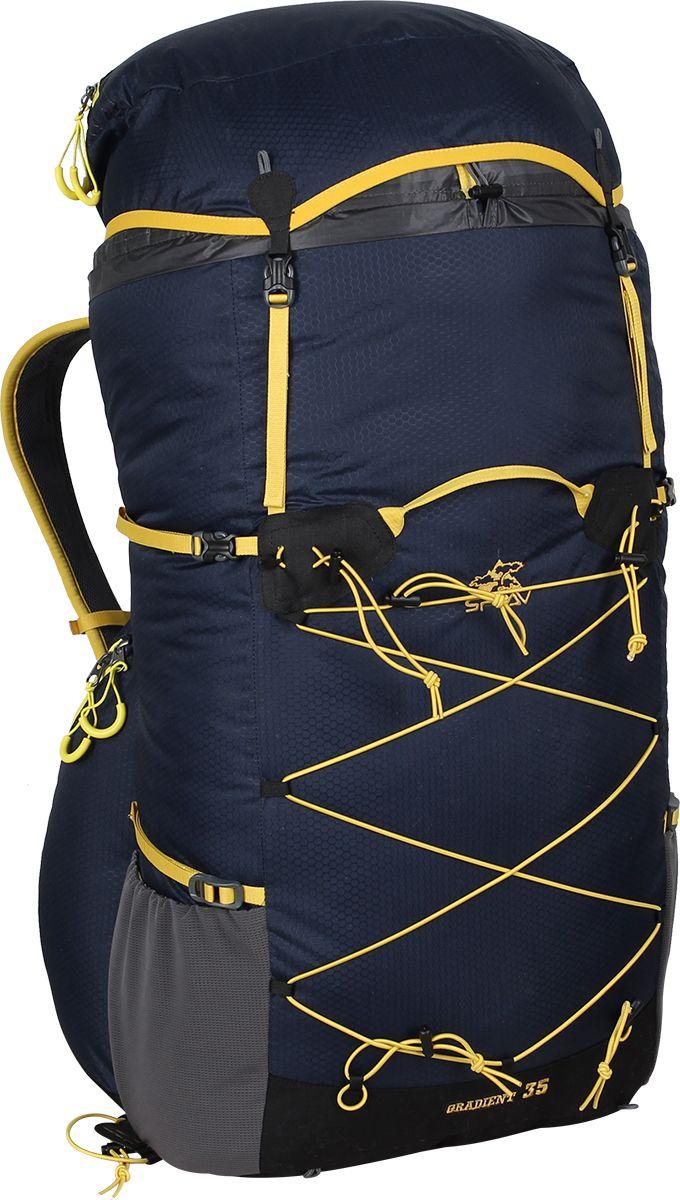 Рюкзак туристический Сплав Gradient 35, цвет: темно-синий, 35 л5035961Поясной ремень и лямки (с регулируемой грудной стяжкой) анатомической формы с мягкой вентилируемой подкладкой из сетки Airmesh CoolmaxCнизу, по бокам рюкзака 2 объемных кармана на молнии, которые позволяют достать необходимые вещи не снимая рюкзака.На лямках рюкзака также есть петли для дополнительных карманов (в комплект не входят!)Объемный тубус из прочного силиконизированного нейлона фиксируется верхней стяжкой.Съемный клапан с карманом может использоваться в качестве поясной сумки.Система крепления трекинговых палок или ледового инструмента позволяет отцепить их от рюкзака или закрепить их прямо на ходу, не снимая рюкзак.Рюкзак комлектуется дополнительной сеткой, которая крепится на клапане, позволяющей закрепить каску или другие предметы.Под днищем – петли для крепления не поместившегося в основной объем снаряжения.«Gradient 35» - это облегченный универсальный рюкзак для походов в альпийском стиле, воскресных выходов, подходов к скальным маршрутам и прогулок по ледникам. Он сочетает в себе поразительную легкость с продуманной системой подвески и грамотной организацией полезного объема. S-образные лямки с мягкой вентилируемой подкладкой из сетки Airmesh Coolmax и регулируемой грудной стяжкой удобно сидят на плечах.Лямки жестко вшиты, что делает систему крепления более надежной. Для лучшего распределения нагрузки стропы лямок крепятся поверх пояса, сбоку рюкзака в треугольную полосу ткани.Посадка лямок регулируется оттяжками, которые крепятся к спинке рюкзака.Сверхлегкий каркас из напряженного стеклопластикового прутка создает необходимую жесткость, а крупноячеистая сетка в сочетании с тонкими профилированными уплотняющими накладками обеспечивает вентиляцию спины.Дополнительную жесткость придает вставка из пеноматериала, которая вставляется в карман на спине. При желании, вставку можно вынуть, и тем самым облегчить рюкзак еще больше.Рюкзак изготовлен из легкой, прочной, износостойкой ткани 100%