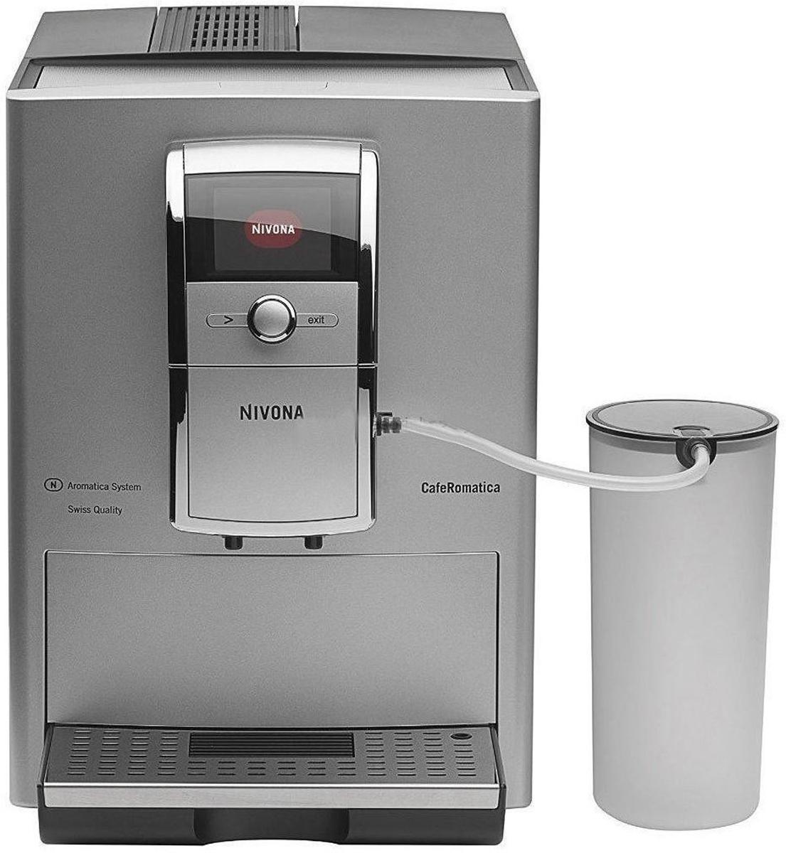 Nivona NICR 848 кофемашина848Элегантный алюминиевый дизайн с хромированной отделкой подчеркнет внешний вид любой кухни, в которой устанавливается кофемашина Nivona NICR 848. Двухцветная подсветка чаши дает дополнительную эстетическую привлекательность. Кроме того, продукт отличается исключительным техническим совершенством и безупречной работой. Программировать все рецепты можно в реальном времени. Прибор обладает низким уровнем шума. Регулировка температуры кофе производится в 3 этапа, крепость кофе в 5 этапов.Особенности:Кофемолка из закаленной стали.Режим ECO и выключатель для достижения почти нулевого потребления энергии.Автоматическая система ополаскивания для взбивателя пены.Программы для очистки, удаления накипи и полоскания, запускаемые одним нажатием кнопки.Функция статистики и мониторинга необходимости технического обслуживания.Регулируемый по высоте выход для кофе (до 14 см).Автоматический контроль уровня воды и кофейных зерен.Держатель для молочного шланга на выходе для кофе.Индивидуальная настройка степени помола.Подставка с подогревом.Система Aromatica с давлением в насосе до 15 бар.Простота перемещения с помощью задних роликов.Горячая вода для чая.Дополнительный отсек для кофейного порошка.Защитная крышка для сохранения аромата.Фильтр для воды CLARIS, чистящие таблетки, молочный шланг и мерная ложка входят в комплект. Комплект также включает контейнер для молока (0,9 л).Элегантная конструкция: алюминий и хромированная отделка.