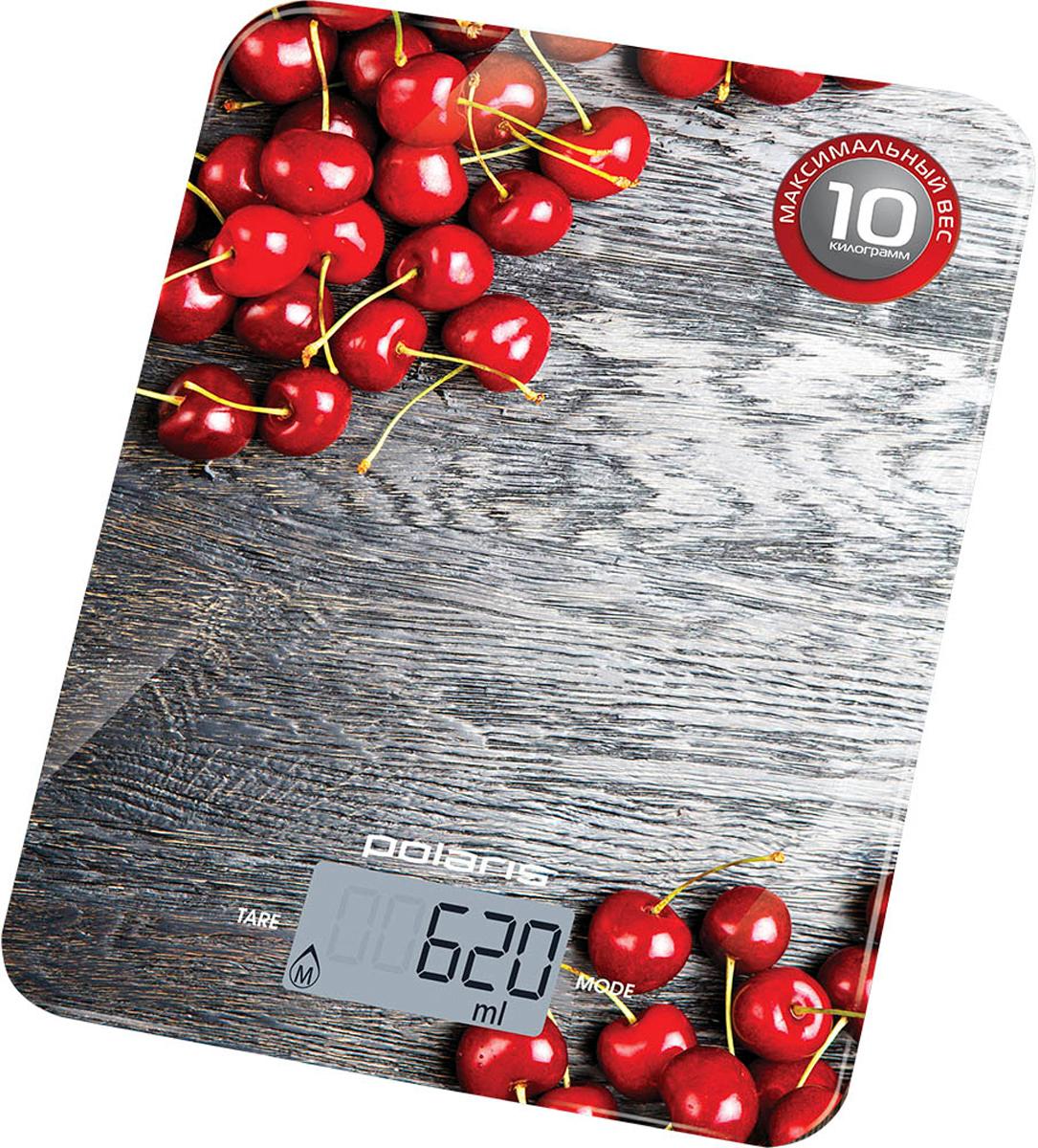 Polaris PKS 1046DG Cherry кухонные весы8080Стильные кухонные весы Polaris PKS 1046DG Cherry избавят вас от ненужных проблем, связанных с недостаточным или избыточным количеством ингредиентов в блюде, помогут соблюдать точность рецептуры и всегда иметь предсказуемый результат.Поверхность из высокопрочного стекла обеспечивает надежное взвешивание продуктов массой до 10 килограммов. Прорезиненные ножки предотвращают скольжение прибора, что гарантирует максимальную точность во время взвешивания. Весы отключаются автоматически, а индикация низкого заряда батареи заблаговременно предупредит вас о необходимости ее замены.