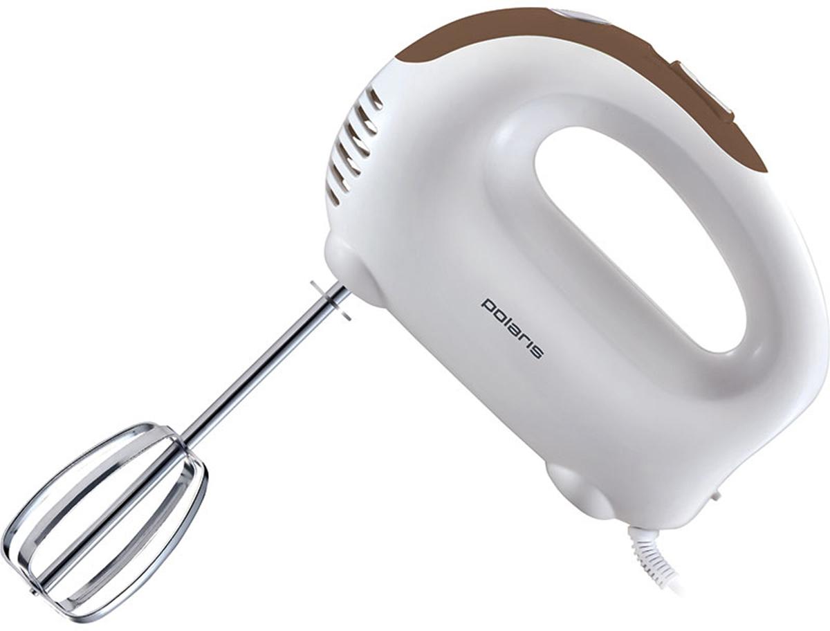 Polaris PHM 3018, Brown миксер007431_кофеВ то время, когда у вас появляется необходимость что-то взбить или перемешать, вам просто необходимо такое кухонное приспособление, как миксер Polaris PHM 3018.Этот прибор замечательно подойдет каждой любительнице кулинарии, которая любит готовить различные вкуснейшие десерты, а также печь торты. При помощи 3 скоростей он вмиг смешает нужные вам ингредиенты или по необходимости поддержит в течение некоторого времени однородную консистенцию любых видов продуктов питания.На корпус также выведена кнопка освобождения насадок. Компактный миксер со сменными насадками станет настоящим помощником на вашей кухне.Прибор оснащен мощным мотором 300 Вт и тремя скоростными режимами, благодаря чему позволяет быстро и качественно замесить тесто, приготовить воздушные бисквиты или блюда из яиц. Легкий вес и эргономичная ручка прибора обеспечивают максимальный комфорт в использовании.