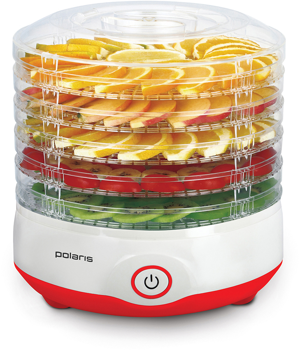 Polaris PFD 2105D сушилка для овощей и фруктов8480Polaris PFD 2105D - современная электронная сушилка для овощей и фруктов, с помощью которой можно быстро сделать заготовки на зиму. Больше не придется создавать специальные условия для заготовки сухофруктов и неделями ждать, пока они хорошо просушатся. Высота поддона - 3,5 см.Электронная сушилка для овощей экономит ваше время и позволяет при этом получить более качественный продукт. С ее помощью вы сможете создать уникальные условия сушки для каждого отдельного фрукта или овоща. В итоге получаются качественные сухофрукты, которые сохраняют все свои полезные и питательные вещества.Сушилка имеет стильный дизайн и отлично впишется в интерьер любой кухни. Кроме того, ее можно разобрать и сложить в любое место.