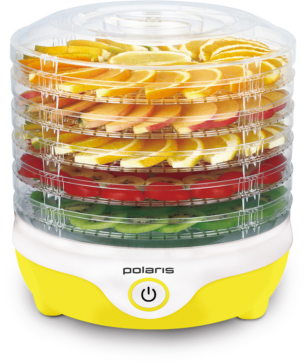 Polaris PFD 2405D сушилка для овощей и фруктов8481Polaris PFD 0705 - современная электронная сушилка для овощей и фруктов, с помощью которой можно быстро сделать заготовки на зиму. Больше не придется создавать специальные условия для заготовки сухофруктов и неделями ждать, пока они хорошо просушатся. Высота поддона - 3,5 см.Электронная сушилка для овощей экономит ваше время и позволяет при этом получить более качественный продукт. С ее помощью вы сможете создать уникальные условия сушки для каждого отдельного фрукта или овоща. В итоге получаются качественные сухофрукты, которые сохраняют все свои полезные и питательные вещества.Сушилка имеет стильный дизайн и отлично впишется в интерьер любой кухни. Кроме того, ее можно разобрать и сложить в любое место.