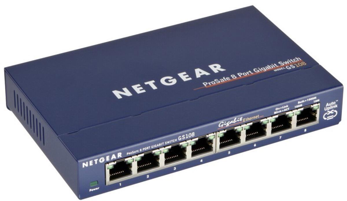 Netgear GS108GE ProSAFE, Blue коммутаторGS108GE8- портовый гигабитный коммутатор GS108GE серии ProSAFE.С помощью неуправляемых гигабитных коммутаторов серии NETGEAR ProSAFE компании могут с небольшими затратами перевести свои сети на использование гигабитных скоростей и увеличить количество портов. Эти энергосберегающие и долговечные коммутаторы прошли строгие испытания и удовлетворяют требованиям предприятий к надежности. Назначение приоритета трафика стандарта 802.1p и поддержка Jumbo-кадров обеспечивает полную интеграцию с более сложными сетями. Пожизненная гарантия и круглосуточная расширенная техническая поддержка ProSUPPORT по телефону в течение 90 дней.