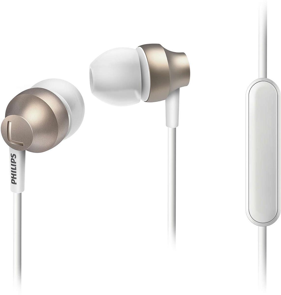 Philips SHE3855, White Gold наушникиSHE3855GD/00Стильные и удобные наушники-вкладыши Philips Chromz (SHE3855) с превосходным дизайном обеспечивают воспроизведение насыщенных басов. Цвета матовой отделки, выполненной методом вакуумной металлизации, соответствуют цветам iPhone 6s. В комплект входят насадки 3 размеров (маленькие, средние и большие), чтобы вы могли выбрать подходящий вариант для себя.Благодаря встроенному микрофону можно легко переключаться между режимами разговора и прослушивания музыки, чтобы всегда оставаться на связи.Качественная матовая отделка, выполненная методом вакуумной металлизации, обеспечивает дополнительную защиту.Эргономичная овальная звуковая трубка обеспечивает максимально комфортную посадку, подстраиваясь под форму уха.Ультракомпактные наушники с удобной посадкой полностью заполняют ушную раковину и заглушают внешние звуки.Компактные наушники-вкладыши Philips Chromz (SHE3855) с удобной посадкой и мощными излучателями обеспечивают чистый звук и мощный бас.Мягкий резиновый сгиб предотвращает повреждение контактов при многократном сгибании кабеля и продлевает срок службы наушников.