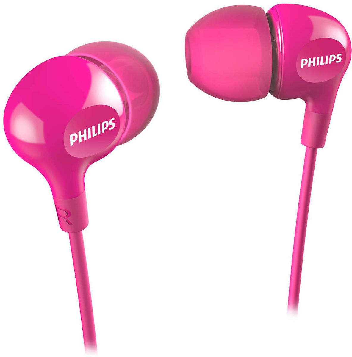 Philips SHE3550, Pink наушникиSHE3550PK/00Компактные наушники-вкладыши Philips SHE3550 с усиленным басом. Эргономичная овальная звуковая трубка обеспечивает максимально комфортную посадку, подстраиваясь под форму уха. В комплект входят насадки 3 размеров, чтобы вы могли выбрать для себя подходящий вариант.Мягкий резиновый сгиб предотвращает повреждение контактов при многократном сгибании кабеля и продлевает срок службы наушников.